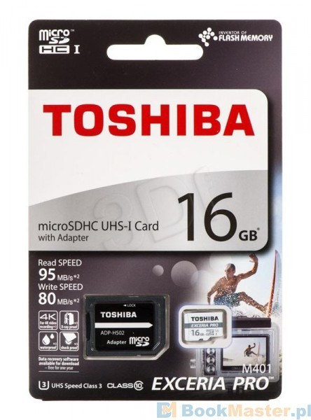 Toshiba M401 16GB Exceria Pro Micro-SDHC UHS-1 U3 Card With Adapter 95MB/s