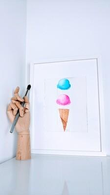 Watercolor Ice Cream Cone of Dreams
