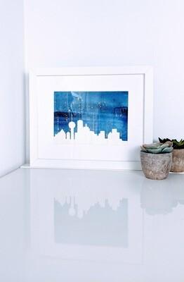 Watercolor Dallas Skyline