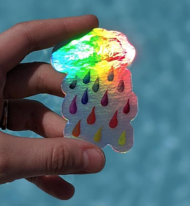 Rainbow Rain & No Bad Days Holographic - Durable Vinyl Sticker - Watercolor Illustration