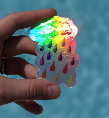 Rainbow Rain & No Bad Days Holographic - Durable Vinyl Sticker - Watercolor Illustration