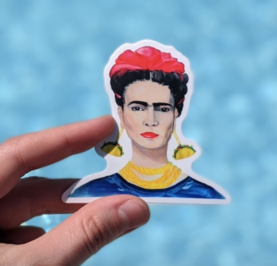 Frida With Taco Earrings - Durable Vinyl Sticker - Watercolor Illustration