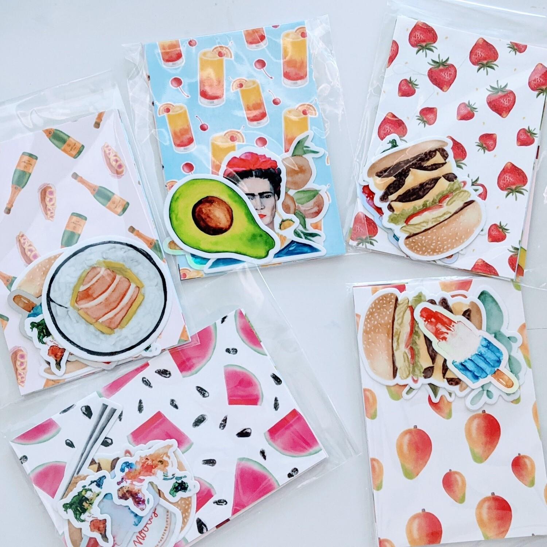 Watercolor Postcard + Sticker Bundle