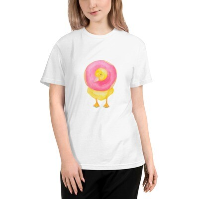 Watercolor Duck with a Donut Sustainable T-Shirt