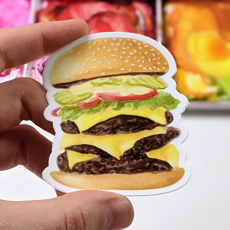 Hamburger - Durable Vinyl Sticker - Watercolor Illustration