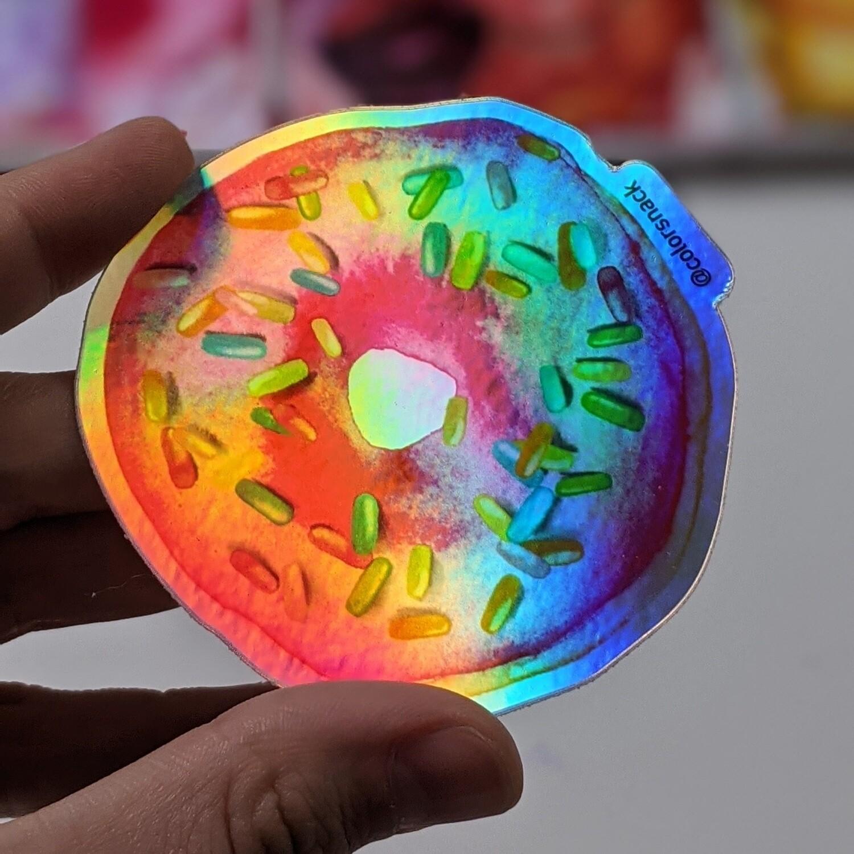 Watercolor Donut Holographic - Durable Vinyl Sticker