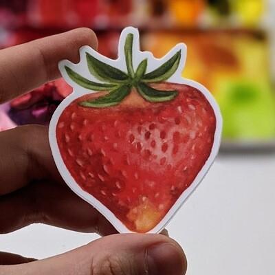 Summer Strawberry - Durable Vinyl Sticker - Watercolor Illustration