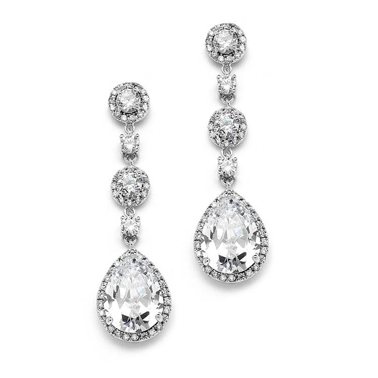 Pear-Shaped Drop Bridal Earring