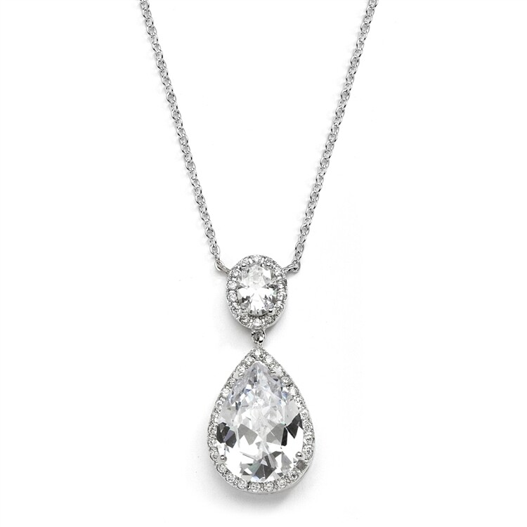 Couture CZ Pear Shaped Bridal Necklace