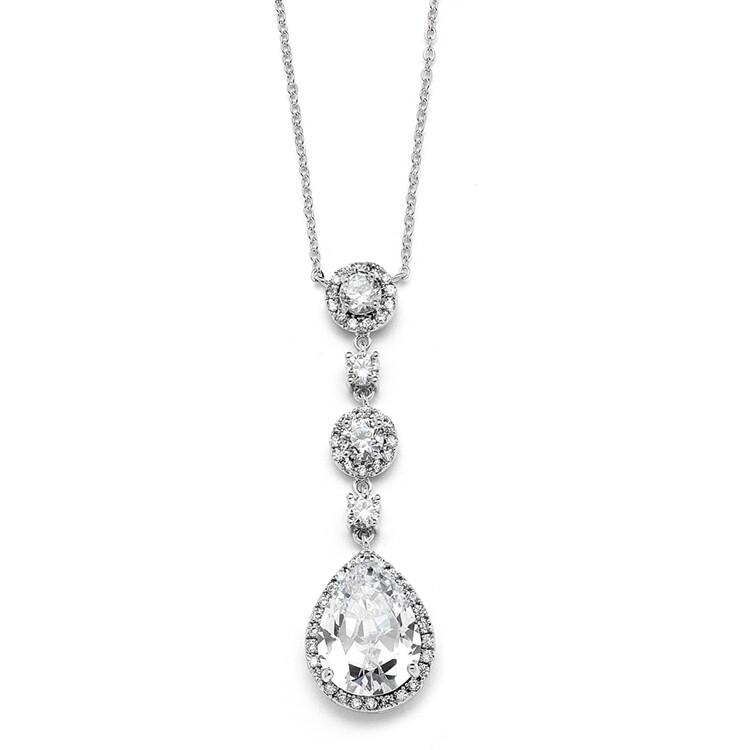 CZ Pear Shaped Drop Necklace