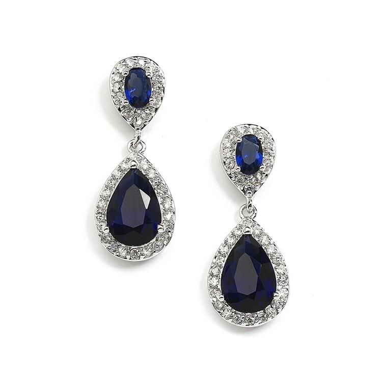 Sapphire CZ Teardrop Earrings