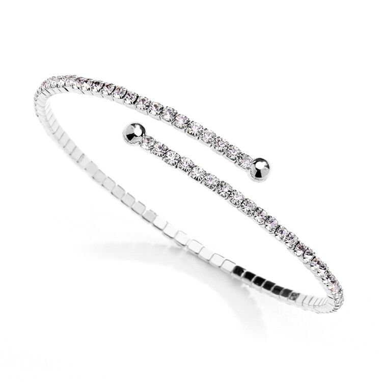 Thin Rhinestone Coil Bracelet