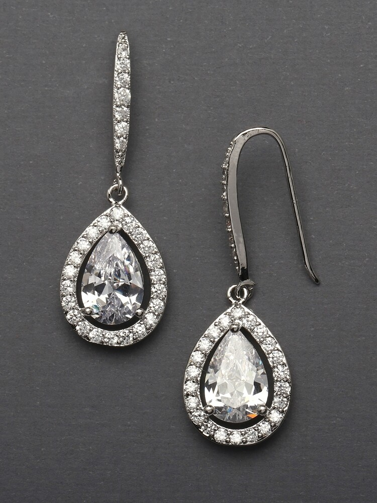 CZ Pear Shaped Pave Halo Frame Earrings