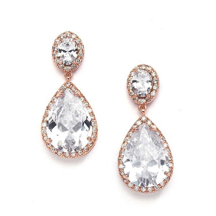 Rose Gold Pear-Shaped CZ Earring