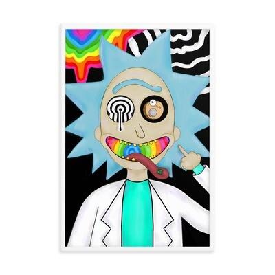 Trippy Rick Framed poster (White Frame )