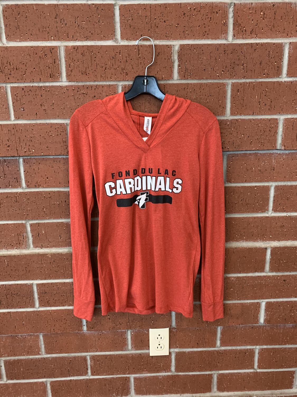Women's Long Sleeve Red Hooded T-Shirt XL
