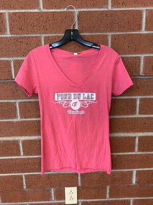 Women's Short Sleeve Pink V-Neck Medium