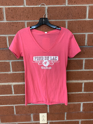 Women's Short Sleeve Pink V-Neck Large