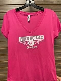 Women's Pink Fond du Lac Cardinals T-Shirt (Small)
