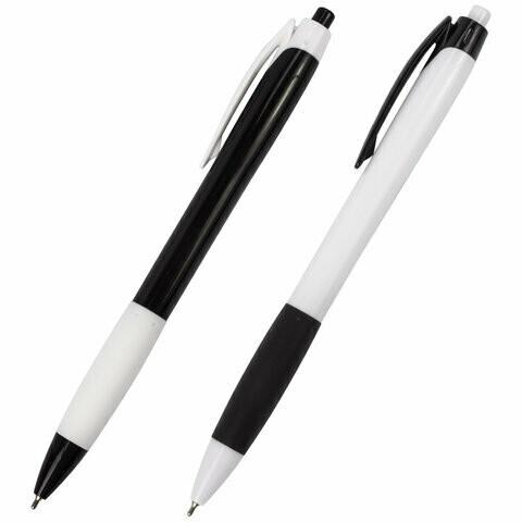 """Авторучка масляная 0.7мм BRAUBERG """"Black&White"""" 142660 синяя"""
