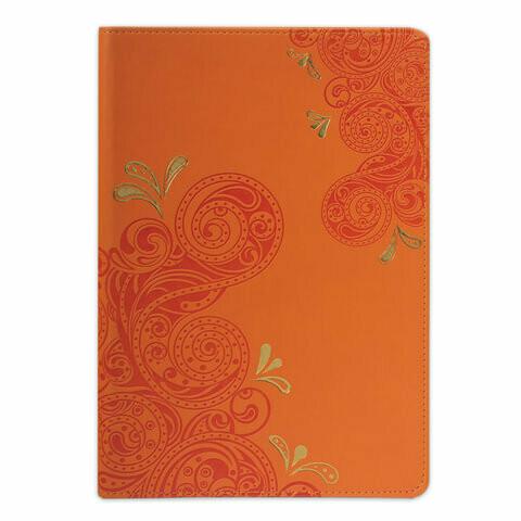 "Бизнес-блокнот А5 128л клетка BRAUBERG ""Orient"" кожзам 128043 оранжевый"
