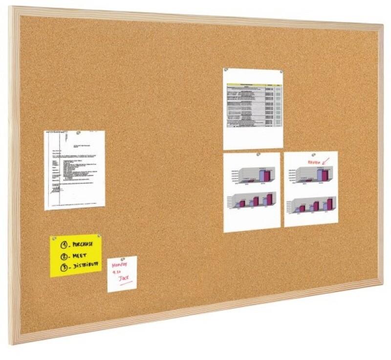 Доска пробковая 60*40 Bi Office деревянная рамка