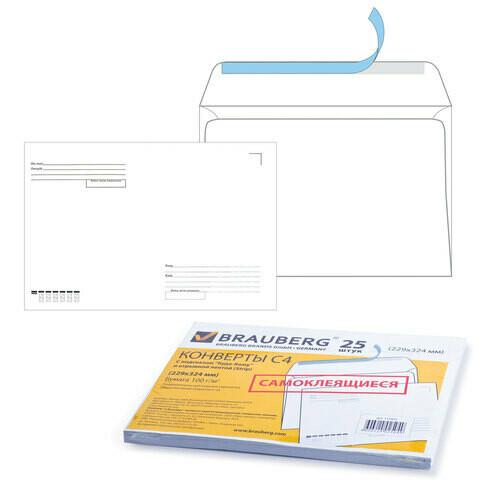 Конверт бумажный С4 229*324 25шт BRAUBERG адрес.сетка, отрыв.лента 121853