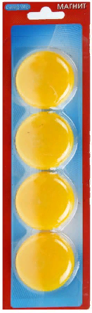Набор магнитов для доски 40мм*4шт CALLIGRATA 1300210 желтые