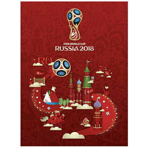 Блокнот А6 160л клетка Чемпионат по футболу 2018 HATBER