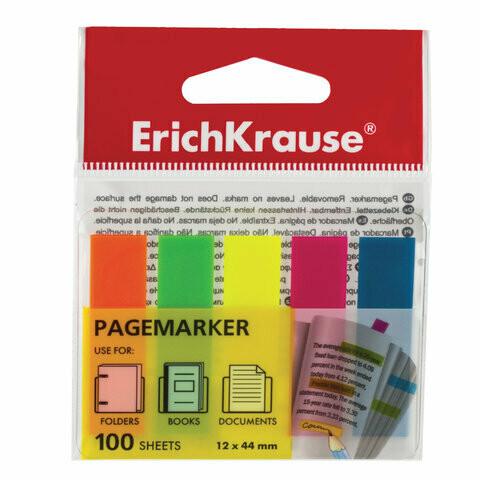 "Закладки клейкие пластик 5цв*20л ERICH KRAUSE ""Neon"" 31177"