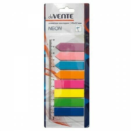 Закладки клейкие пластик 8цв*25л deVente 2011309