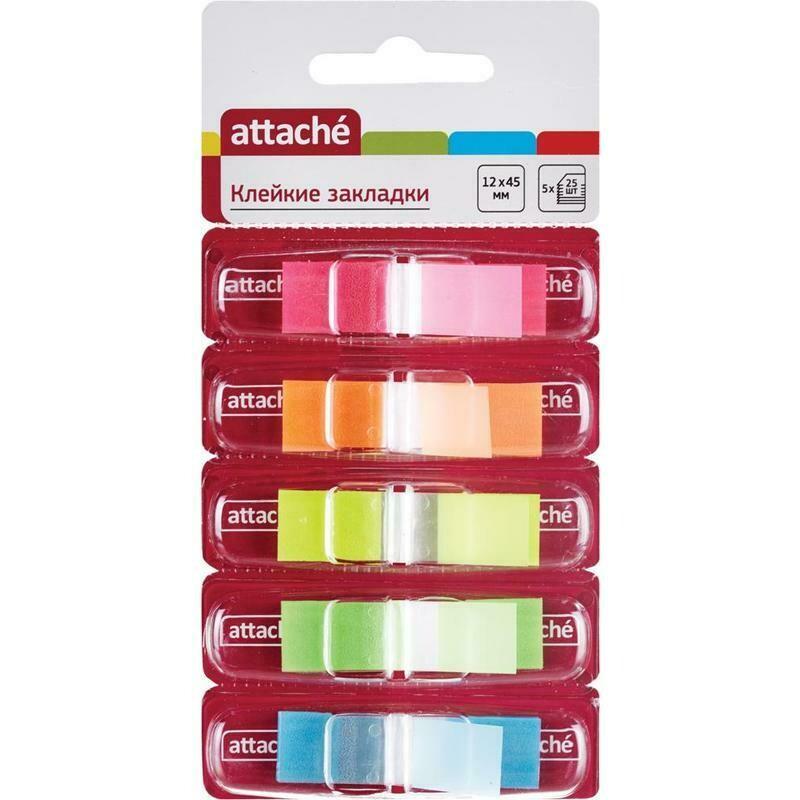 Закладки клейкие пластик 1цв*25л Attache неон