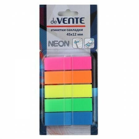 Закладки клейкие пластик 5цв*30л deVente 2011315