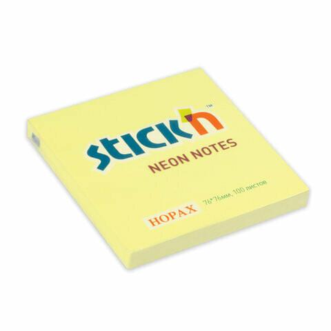 """Блок-стикер 76*76 100л HOPAX """"Neon"""" 21133 желтый"""