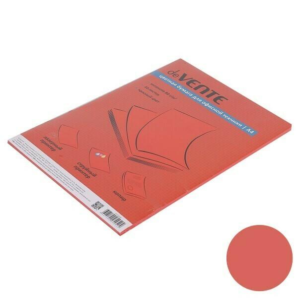 Бумага для орг.техники А4 deVENTE цветная 100л/1 цв, красный