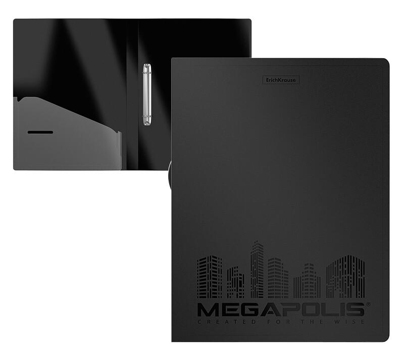 """Папка 2 кольца А4 ERICH KRAUSE """"Megapolis"""" пластик, карман EK46002 черная"""