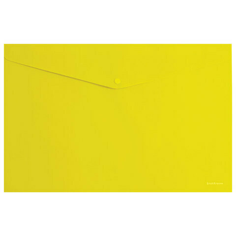 """Папка-конверт с кнопкой А4 180 мкм ERICH KRAUSE """"Classic"""" EK47109 желтый"""