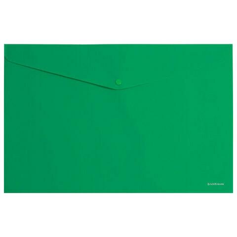 """Папка-конверт с кнопкой А4 180 мкм ERICH KRAUSE """"Classic"""" EK47111 зеленая"""
