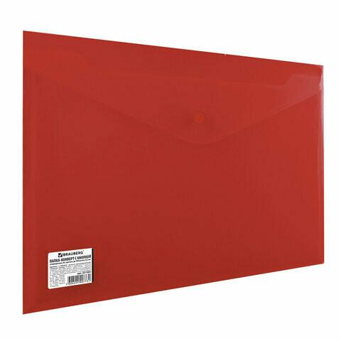 Папка-конверт с кнопкой А4 200мкм BRAUBERG плотная 221364 красная