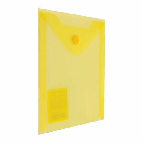 Папка-конверт с кнопкой А6 105*148 BRAUBERG прозрачный 227319 желтый