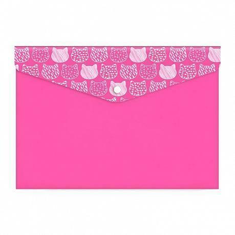 """Папка-конверт с кнопкой А7 74*105 ФЕНИКС+ """"Котики"""" 48266 розовый"""