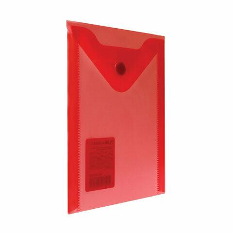 Папка-конверт с кнопкой А6 105*148 BRAUBERG прозрачный 227320 красный
