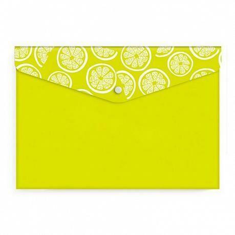 """Папка-конверт с кнопкой А7 74*105 ФЕНИКС+ """"Лимон"""" 48267 салатовый"""