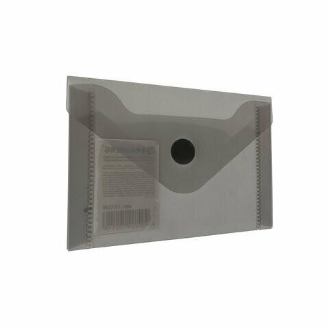 Папка-конверт с кнопкой А7 74*105 BRAUBERG прозрачный 227326 черный