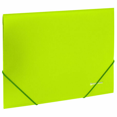 "Папка на резинках А4 BRAUBERG ""Neon"" до 300л пластик 227460 зеленая"