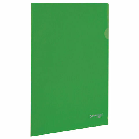 Папка-уголок 0.15мм BRAUBERG плотная 224881 зеленый