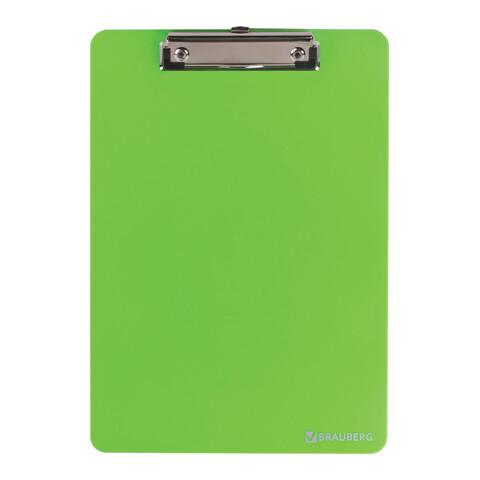 """Планшет с прижимом А4 BRAUBERG """"Solid"""" прочный пластик 226824 зеленый"""