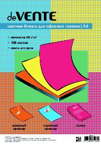 Бумага для орг.техники А4 deVENTE цветная 100л/5 цв ассорти интенсив