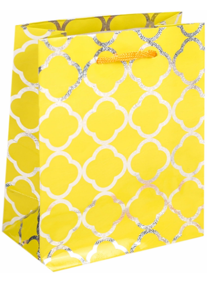Пакет подарочный 11,5*14,5*6,5 голография 2625197 желтый