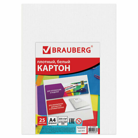 Набор белого картона А4 25л 235 г/м2 BRAUBERG 124021 мелованный